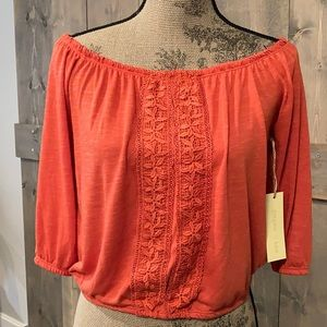 NWT Paper + Tee boatneck cropped top
